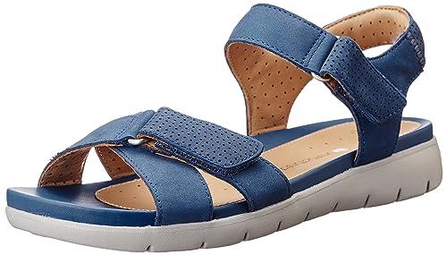 63b9e673c5c6 Clarks Women s Un Saffron Blue Leather Flip-Flops Other - House Slippers -  3.5 UK