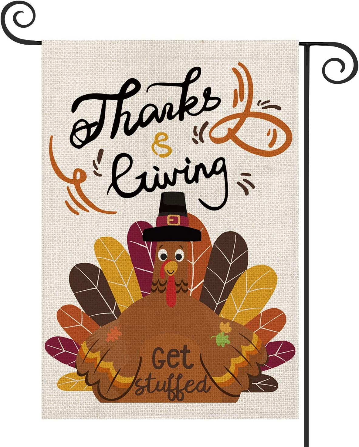 AVOIN Thanksgiving Get Stuffed Turkey Garden Flag Vertical Double Sized, Fall Holiday Yard Outdoor Decoration 12.5 x 18 Inch