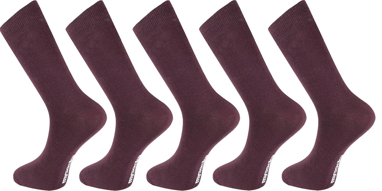 Mysocks® Men Socks Plain Burgundy 5 Pairs Cotton Rich Size 6 to 11 MP012a