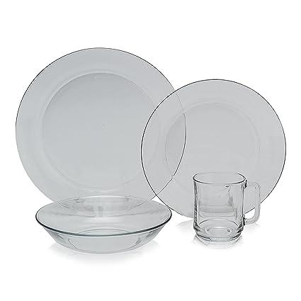Duralex - Clear Glass 24pc Dinnerware Set Service for 6  sc 1 st  Amazon.com & Amazon.com | Duralex - Clear Glass 24pc Dinnerware Set Service for ...