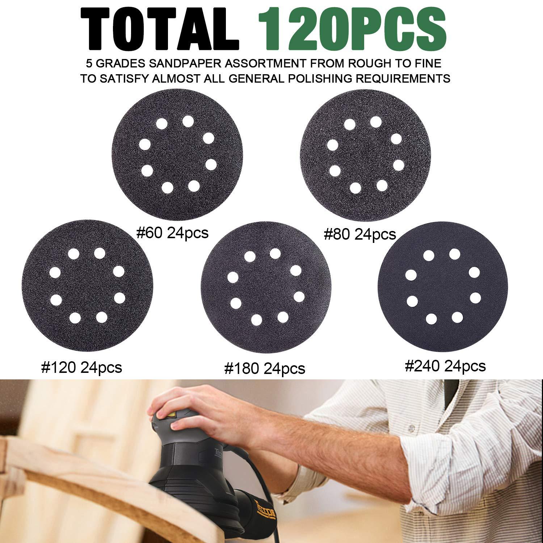 Papier de verre 120pcs Disques Ronds TECCPO-TASP25A-125SCI Auto-aggripant pour Ponceuse Excentrique P60//80//120//180//240