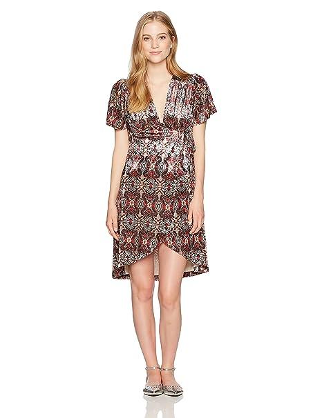 6cadaf45a9 Amazon.com  Angie Women s Short Sleeve Printed Velvet Wrap Dress ...
