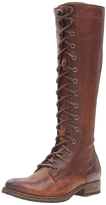 e69a9c1e95c Frye Women's Melissa Tall lace Riding Boot Cognac 9 UK: Amazon.co.uk ...