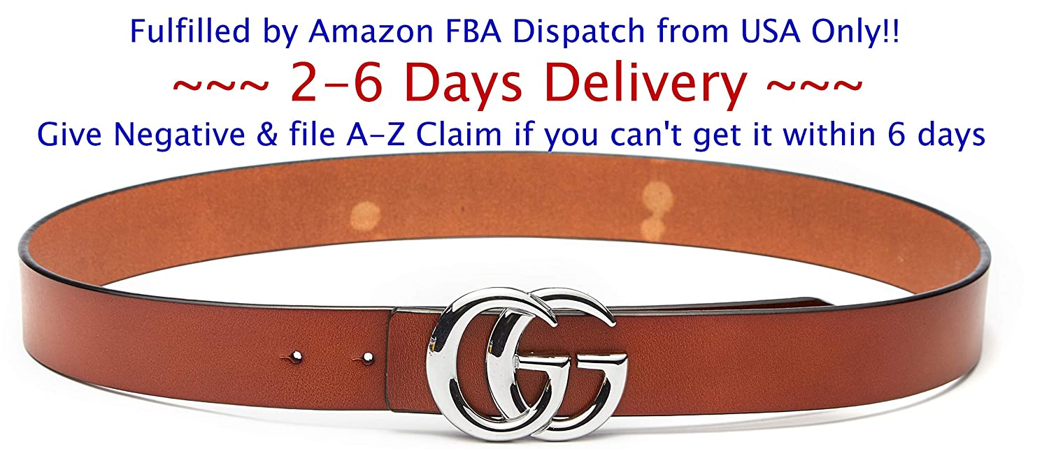 931ad0bc4 (2-7 Days Fast USA Deliver Guarantee Fulfilled by Amazon) Silver Buckle  Style Women Lady Leather Belt ~ 3.8cm Belt Width at Amazon Women's Clothing  store: