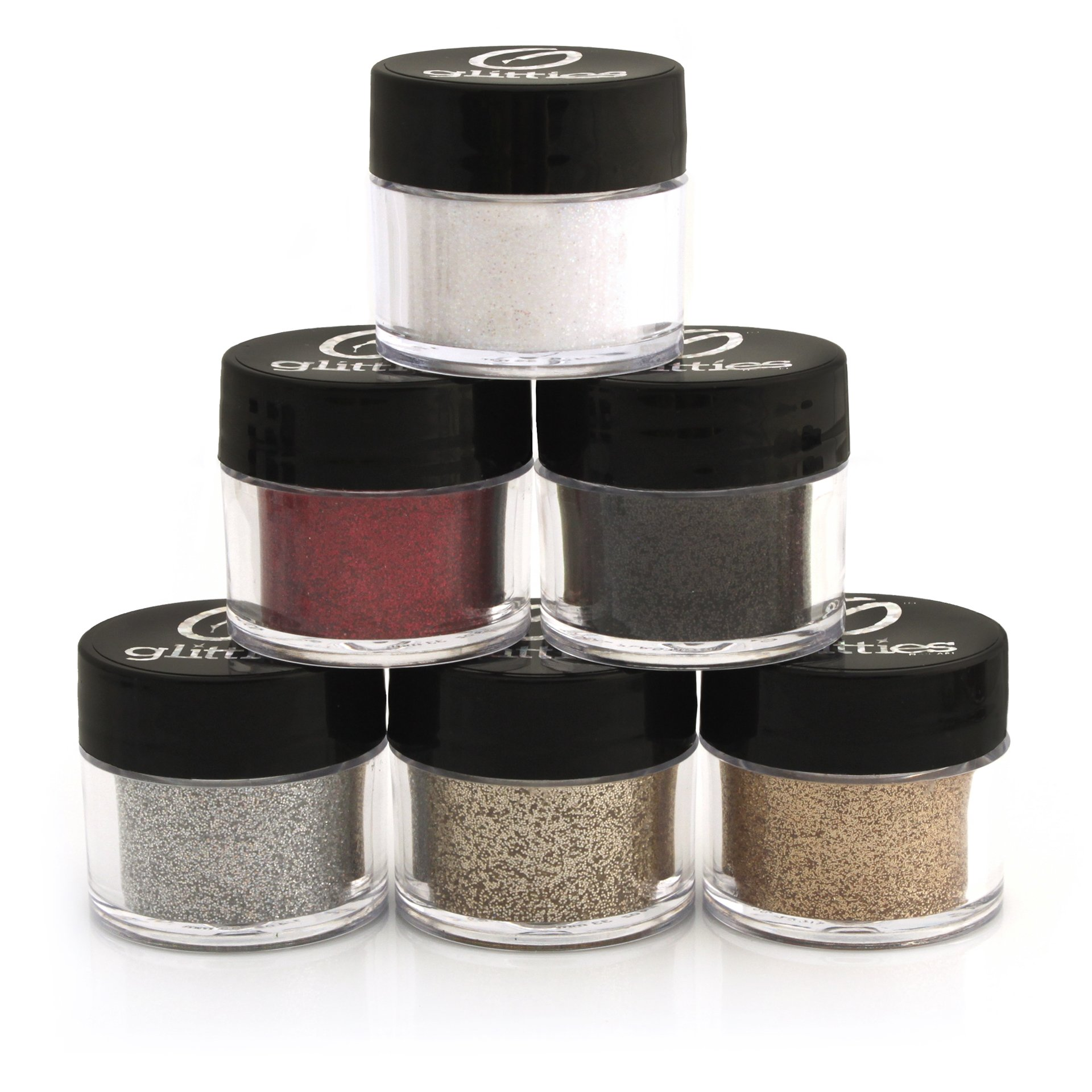 Neutral Cosmetic Glitter Powder Kit (6 PK)- Safe for eyeshadow, make up, body and nails. by Glitties Nail Art (Image #1)