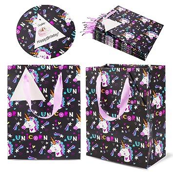 Bolsas de Fiesta Unicornio (12 Piezas), Bolsas de Regalo de cumpleaños, Bolsas de Papel engrosadas con asa de Cinta, Bolsas de Regalo para artículos ...