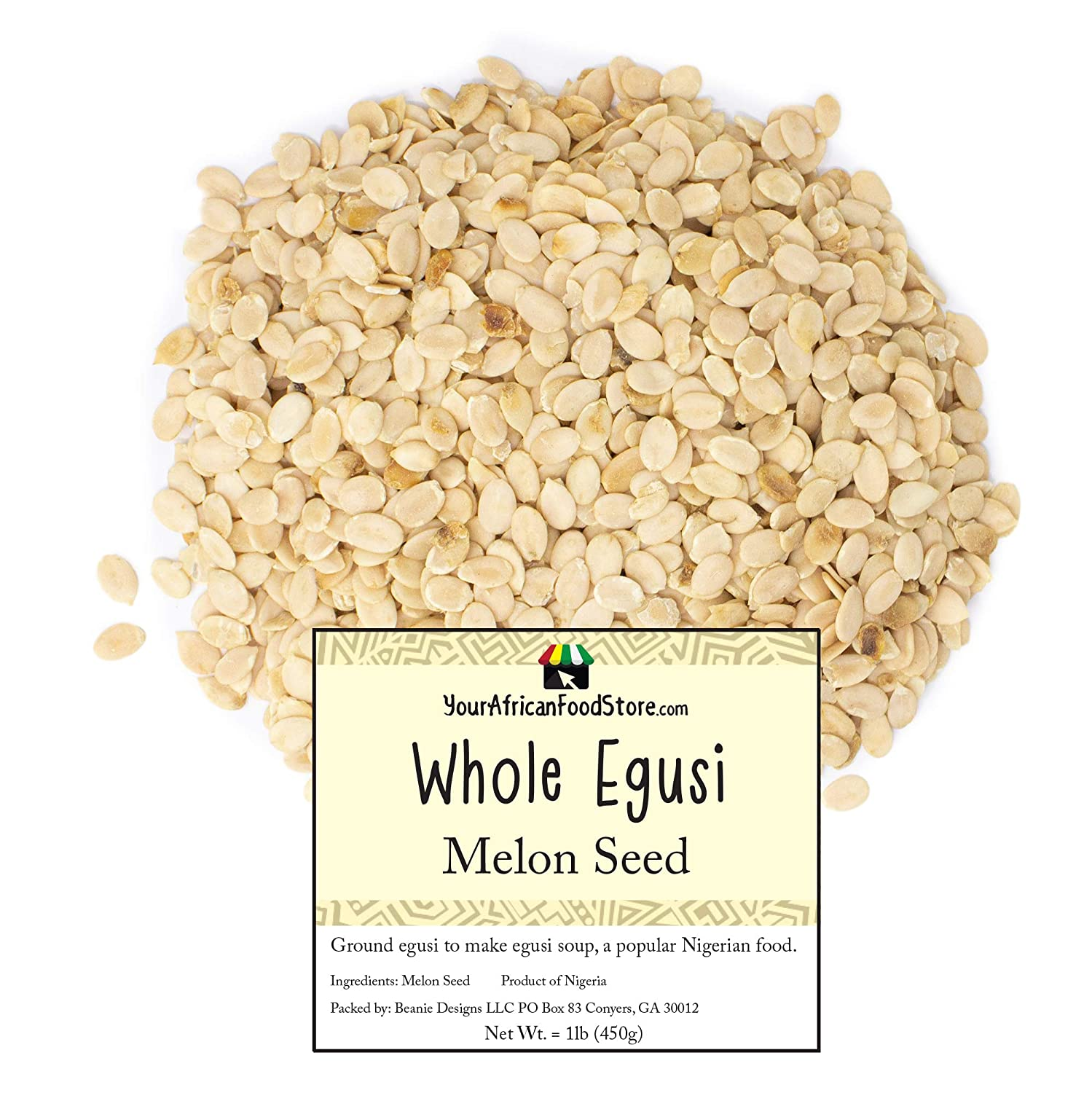 Nigerian Egusi Seeds, Whole Melon Seeds for Egusi Soup, Nigerian Seasoning, African Food (1kg / 2 pounds)