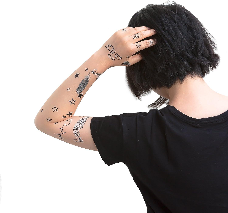 Oblique Unique - 34 Tatuajes temporales, Estrellas, Latido de ...