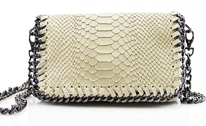 b7760fdfb7c8 LeahWard Chain Trim Genuine Italy Leather Cross Body Bags Great Brand Nice  Handbags VPS00 (BEIGE SNAKESKIN)  Amazon.co.uk  Clothing