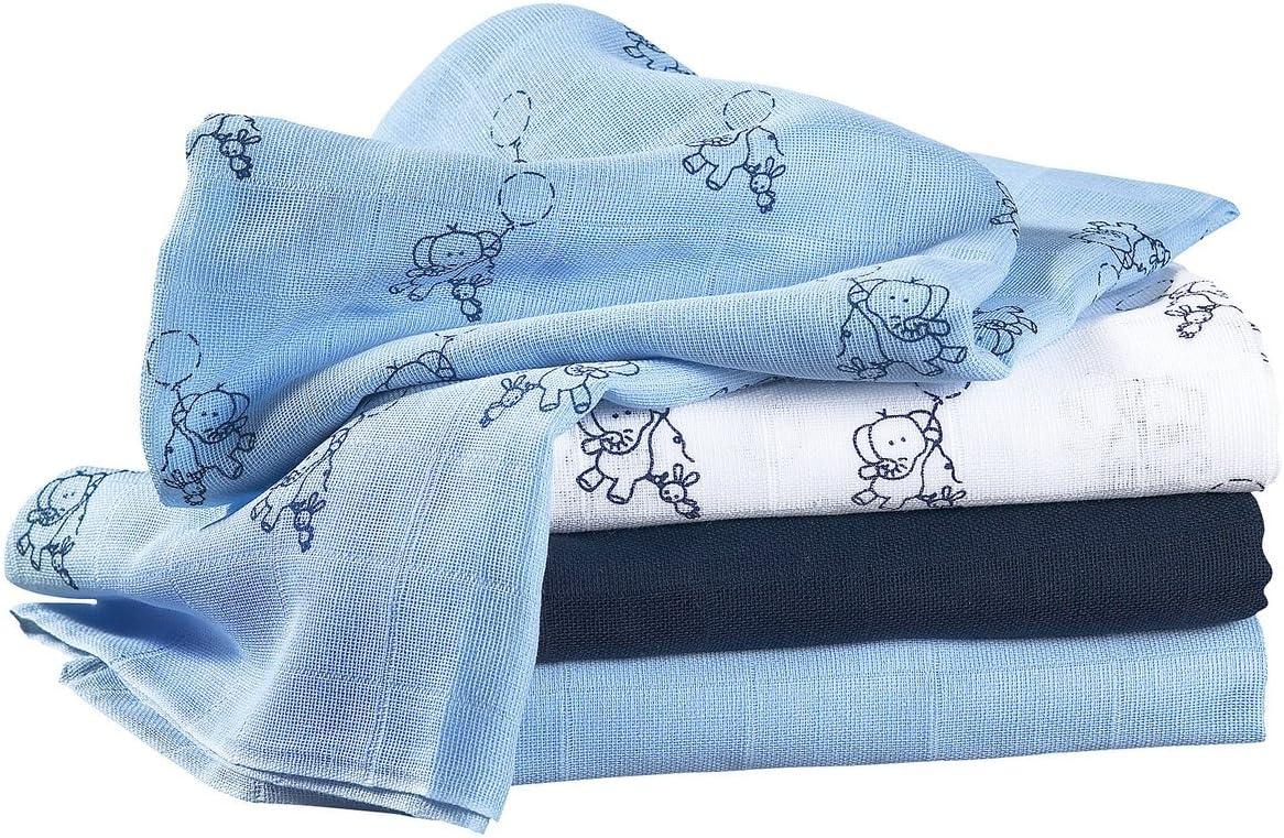 Bornino Le lot de 4 langes 80 x 80 cm couche en tissu blanc//marine//bleu ciel