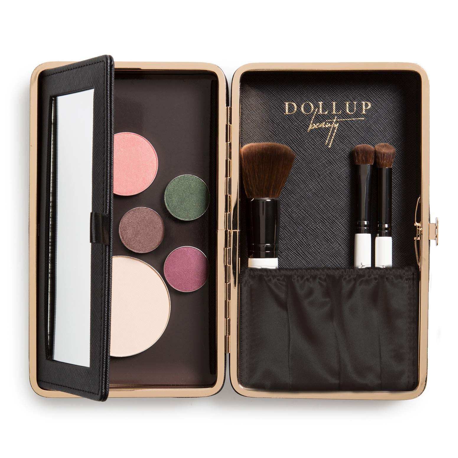 Dollup Case Makeup Organizer - Features Empty Magnetic Palette, Foldaway Vanity Mirror + Accessory Pocket. Perfect travel makeup compact. (Jetset Black).