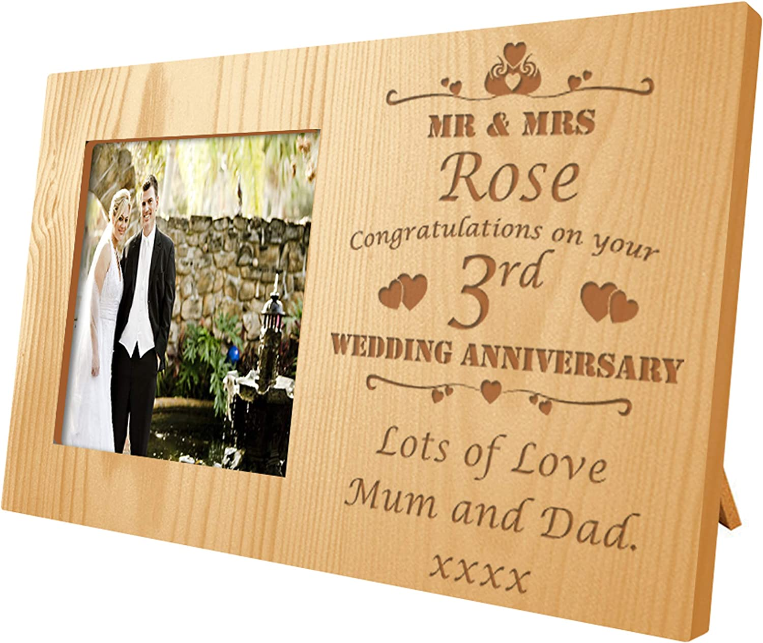 Crazy Tony S 3rd Wedding Anniversary Laser Engraved Wooden Photo Frame Leather Husband Gift Amazon Co Uk Kitchen Home