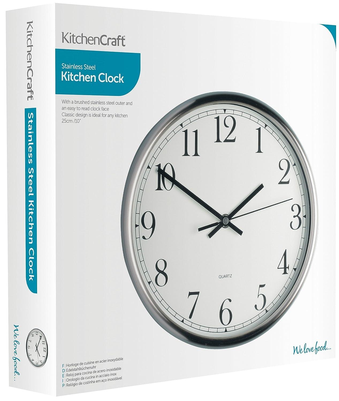 Kitchencraft Stainless Steel Kitchen Wall Clock 25 Cm 9 Amazon