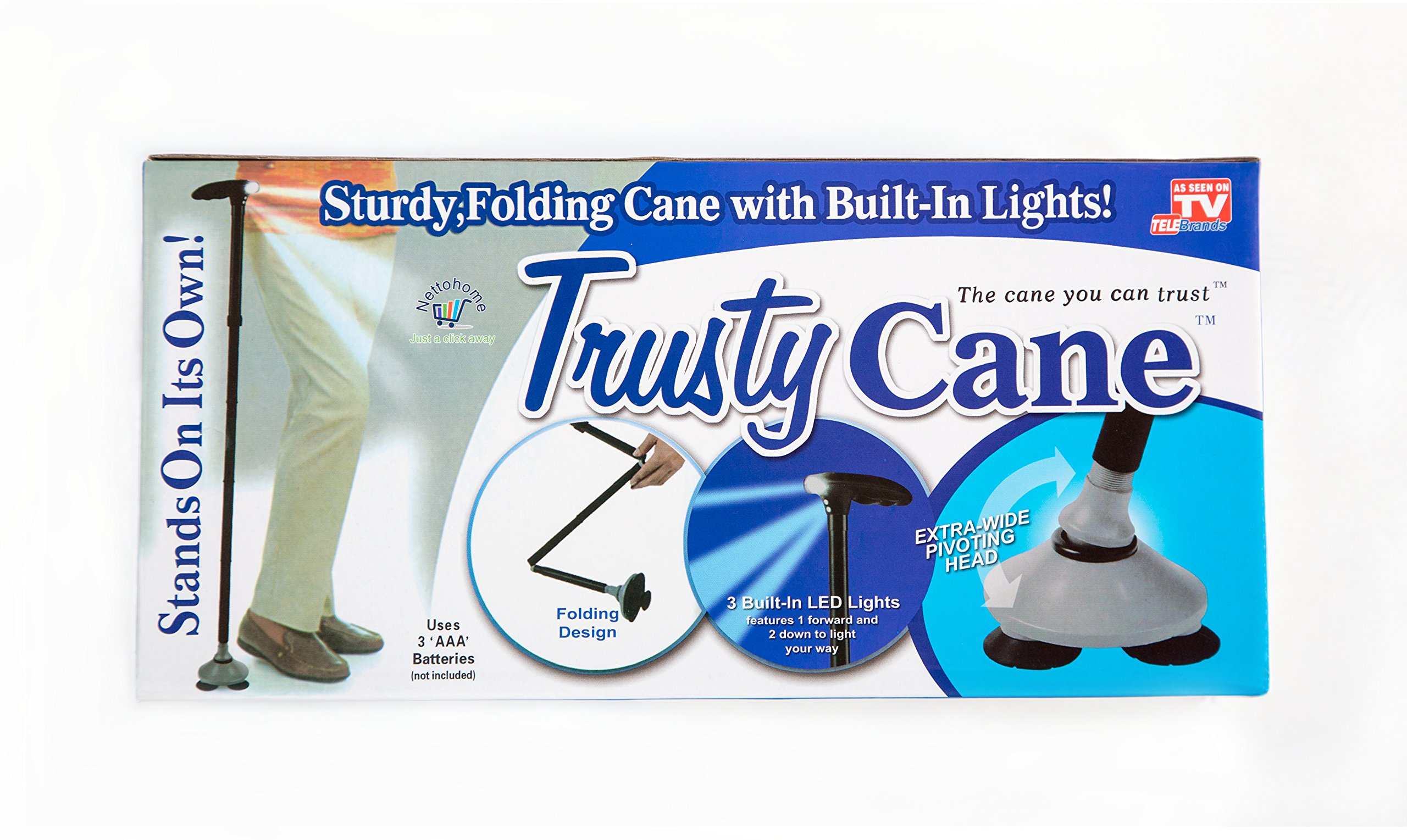 Trusty Cane adjusts folding in a hurry. Lightweight self standing for men women elderly 1.2 lbs. Mobile aid easy grip LED light for freedom independence Go Quadpad As seen on TV. Stable T handle Black