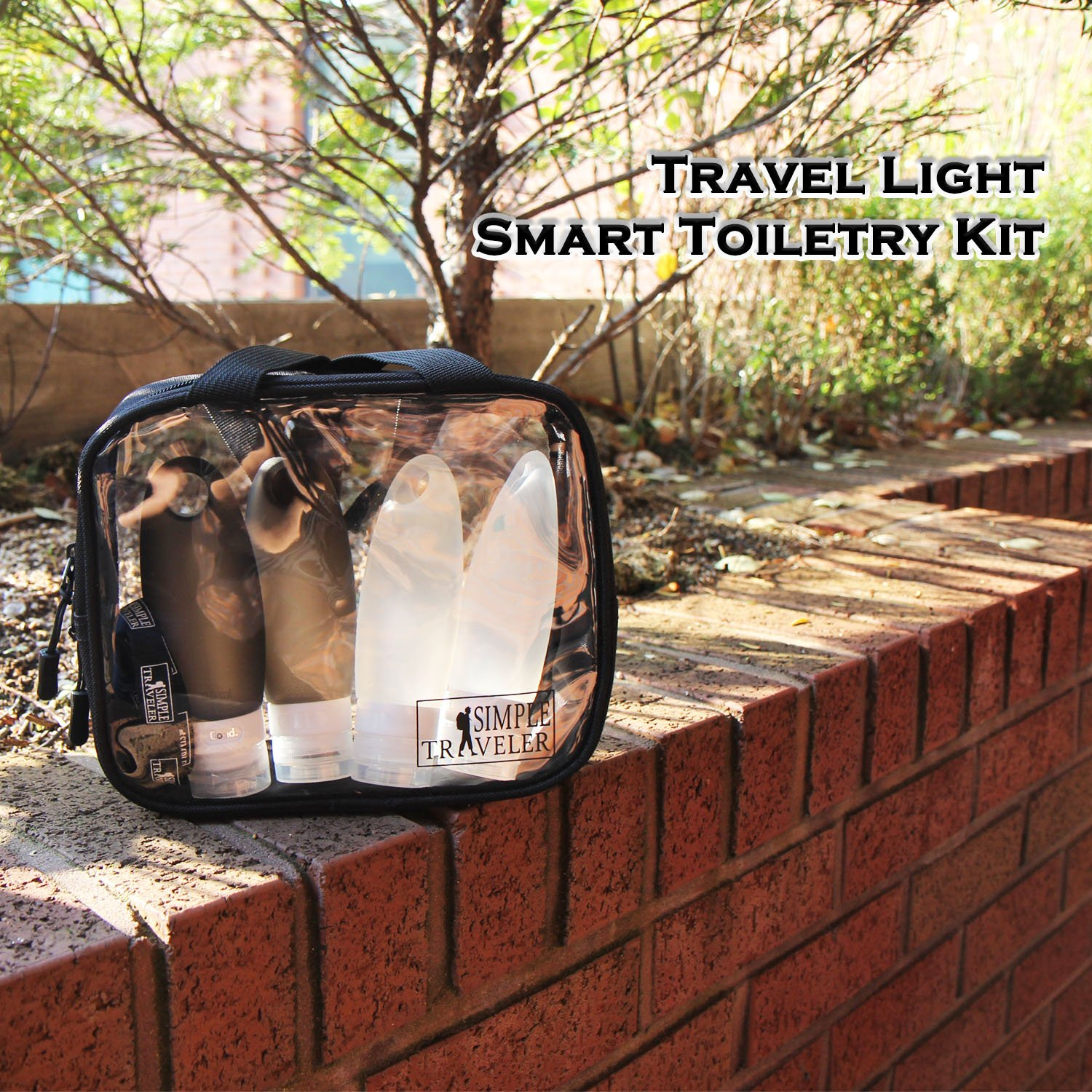 TSA approved Toiletry Bag Squeezable Silicone Travel Bottles Set | Clear Leak Proof Refillable Containers for Liquids (BPA Free, 3.3 OZ) | Toothbrush covers with Hanging Strap | Quart Sized Air Carry- by Simpletraveler (Image #2)