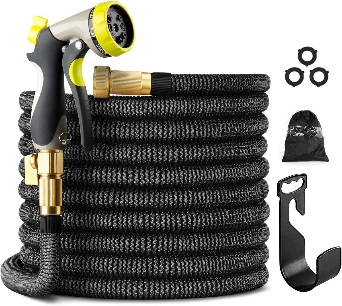 PAMAPIC 100 FT Expandable Garden Hose, Lightweight Durable Flexible Water Hose with 3/4 Nozzle Solid Brass Connector and 8 Pattern High Pressure Water Spray Nozzle