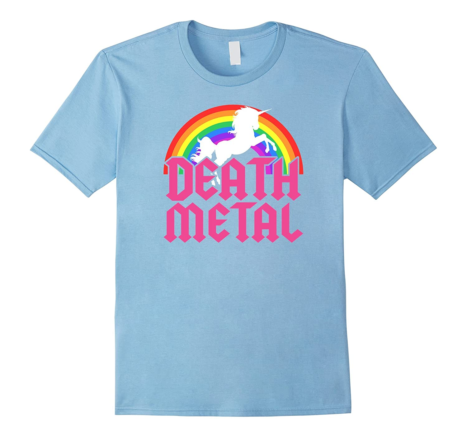 Death Metal Unicorn Rainbow Shirt Rock Concert Magical Tee-FL