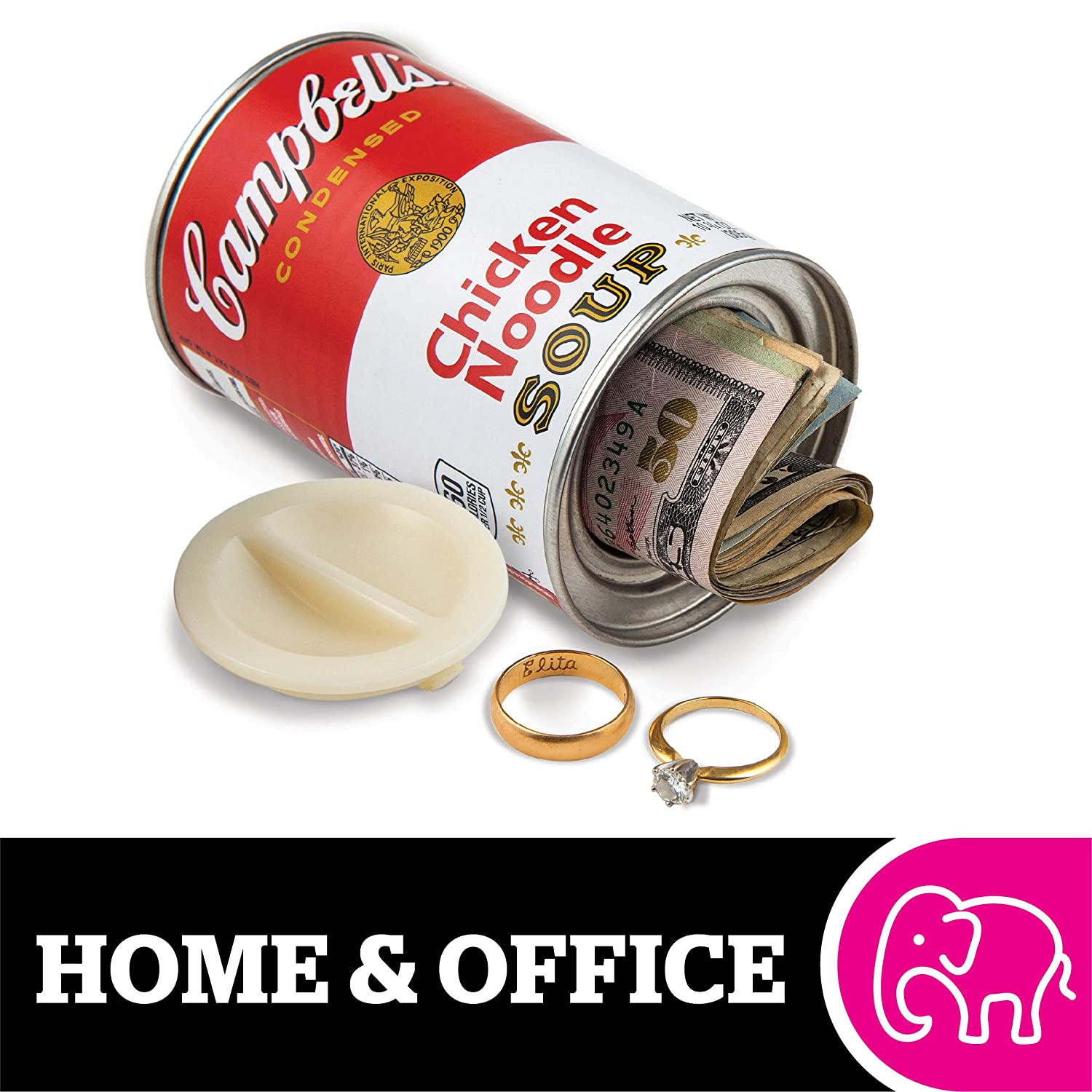 """BigMouth Inc Campbell's Chicken Noodle Soup Can Safe —Great Hiding Place for Storing Valuables, 3"""" x 3"""" x 4.5"""""""