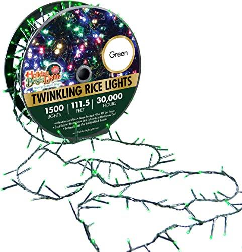 Holiday Bright Lights 1500L Twinkling Rice Light Reel, Over 1,000 Days of Use, Great for Holiday Decoration, Nearly 112 ft. Long, Comes with a Storage Reel Green
