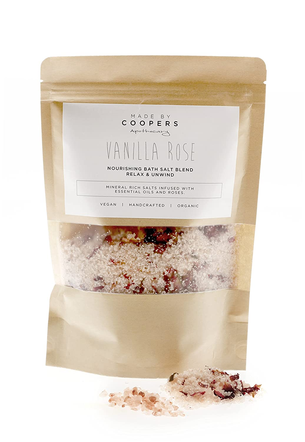 Vanilla Rose Nourishing Bath Salt Blend with Essential Oils and Coconut Oil by Made By Coopers - 400g Bag.