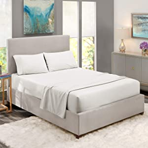 """Nestl Bedding Damask Dobby Stripe 4 Piece Set – 14""""-16"""" Deep Pocket Fitted Sheet – Ultra Soft Double Brushed Microfiber Top Sheet – 2 Hypoallergenic Wrinkle Free Cooling Pillow Cases, Queen - White"""