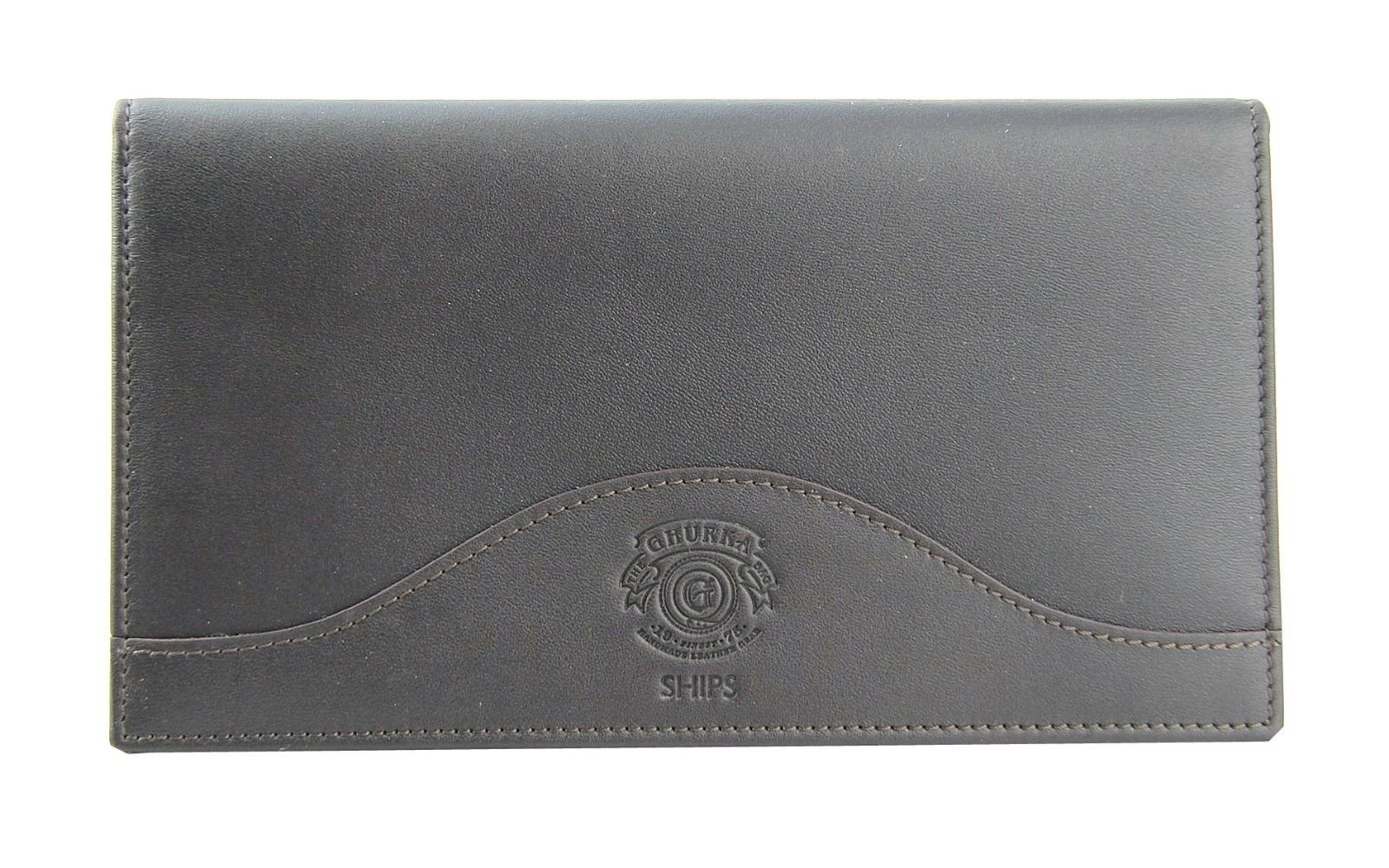 GHURKA 100% LEATHER PASSPORT WALLET 11 CREDIT CARD WALNUT BRAND NEW #1