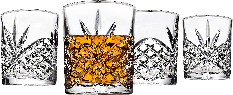 Godinger Old Fashioned Glasses, Beverage Glass Cups - Dublin, Platinum Rim, Set of 4