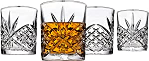 Godinger Old Fashioned Glasses, Beverage Glass Cups - Dublin, Platinum Rim, Set of 4