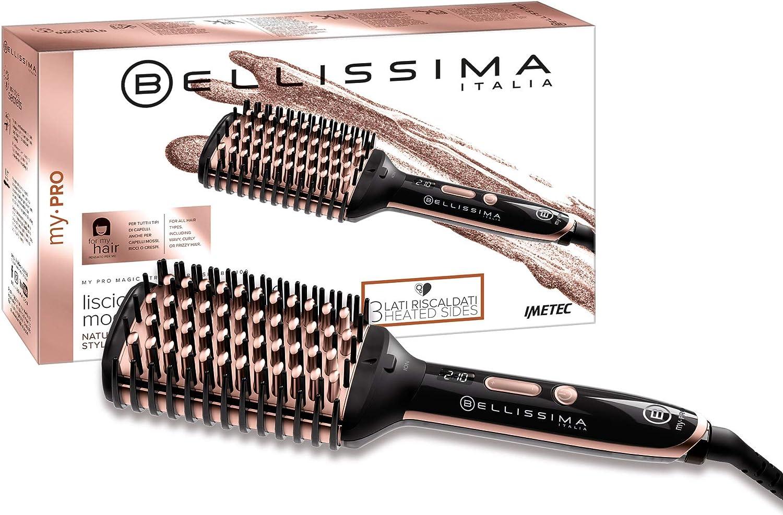 Imetec Bellissima My Pro Magic Straight Brush PB11 100 - Cepillo eléctrico alisador elegido, 3 lados externos calefactores, tecnología de iones, revestimiento de cerámica, 160ºC a 210ºC