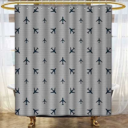 Airplane Shower Curtain Collection By Diagonal Stripes With Blue Travel Icons Silhouettes Vacation Aviation Bathroom Decor