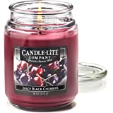 Candle Lite Essentials 18-Ounce Juicy Black Cherries Terrace Jar Candle