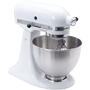 KitchenAid K45SSWH K45SS Classic 275-Watt 4-1/2-Quart Stand Mixer
