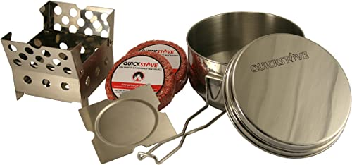 QuickStove Portable Emergency Cook Kit. Multi-Fuel Stove, Stainless Steel Pot, Fuel, and Food – Perfect for Survival Kits Emergency Preparedness