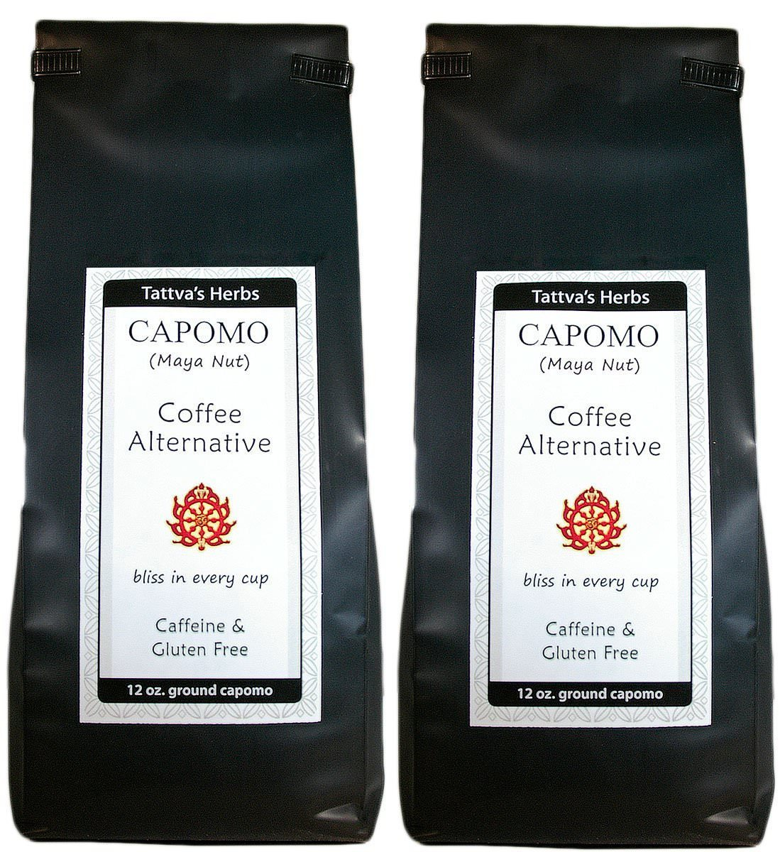 Capomo Herbal Coffee Substitute - Acid Free, Caffeine Free And Gluten Free - Natural Dark Roast - Maya Nut , Ramon Seeds - 2 Pack From Tattva's Herbs