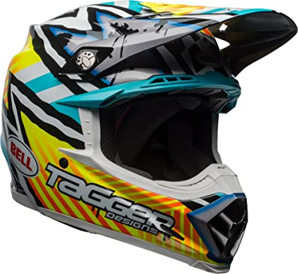 e97af3b7a9992 Bell Moto-9 MIPS Off-Road Motorcycle Helmet (Tagger Gloss Yellow/Blue/White  Asymmetric, Large)