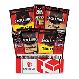 Jack Link's Beef Jerky Care Package | Gift Basket | Snack BOX (8 Items) Great for Easter, Date Night, College, Gift for Guys, Camping, Hunting and Much more! | by SnackBOX