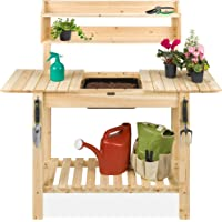 Deals on BCP Wood Garden Potting Bench w/ Sliding Tabletop