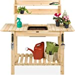 Best Choice Products Outdoor Wood Garden Potting Bench Workstation Table w/Sliding
