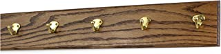 """product image for Oak Wall Mounted Coat Rack with Solid Brass Singular Style Hooks 4.5"""" Ultra Wide (25.5"""" x 4.5"""" with 5 Hooks, Walnut)"""
