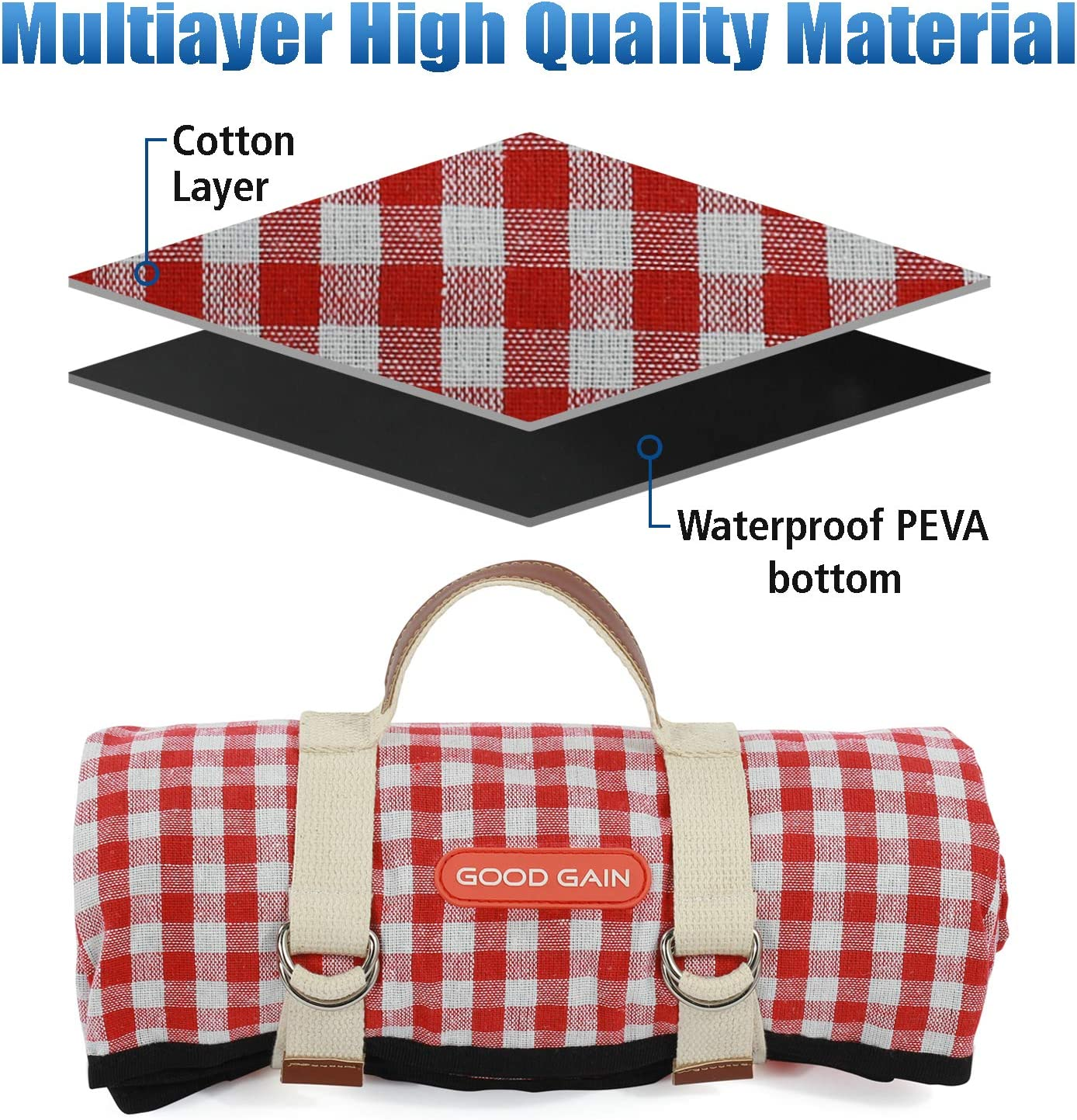 Good Gain Picnic Blanket Waterproof Beach Blanket Portable with Carry Strap Outdoor Camping Party Large Foldable Sand Proof for Wet Grass Hiking or Kids Playground Picnic Mat