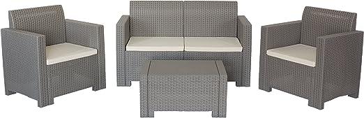 Conjunto de muebles para jardín y exterior Nebraska Gris Pardo de ratán: Amazon.es: Jardín