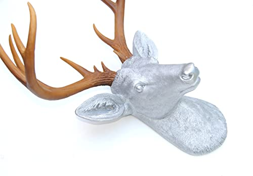 Near and Deer ND1000 Faux Taxidermy 14 Point Deer Head Wall Mount, Silver Natural