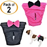 FunnyDogClothes Pack of 2 Dog Diapers for Female Girl Cat Puppy for Small and Large Pet