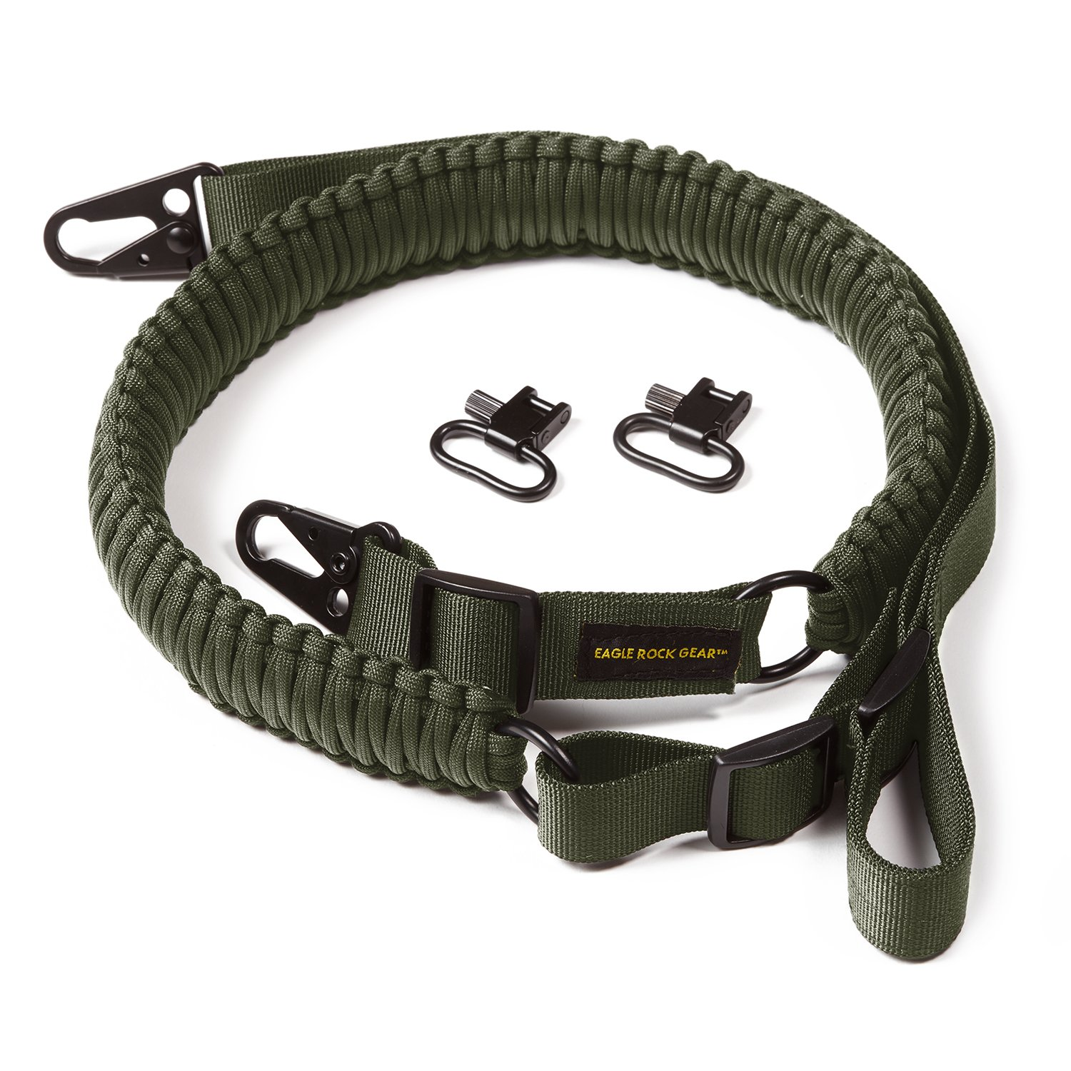 Eagle Rock Gear 550 Paracord 2 Point Gun Sling for Rifles, Shotguns, Crossbows, Airsoft - with Easy Adjustable Strap, HK Clips, Swivels (Army Green) by Eagle Rock Gear