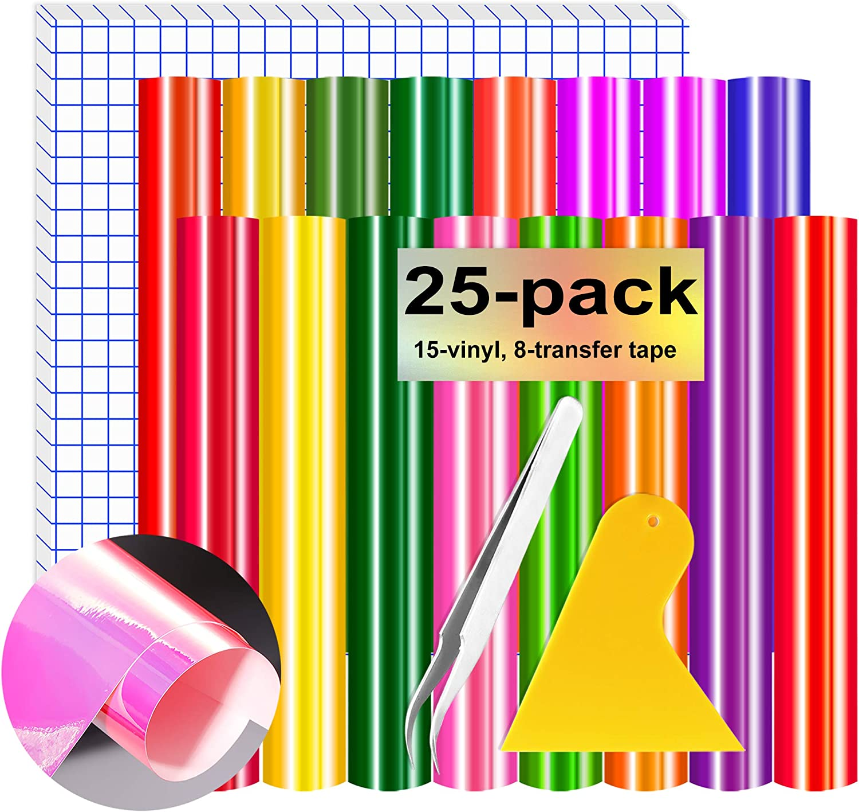 HIRALIY Holographic Vinyl Sheets Permanent 25 Pack 12
