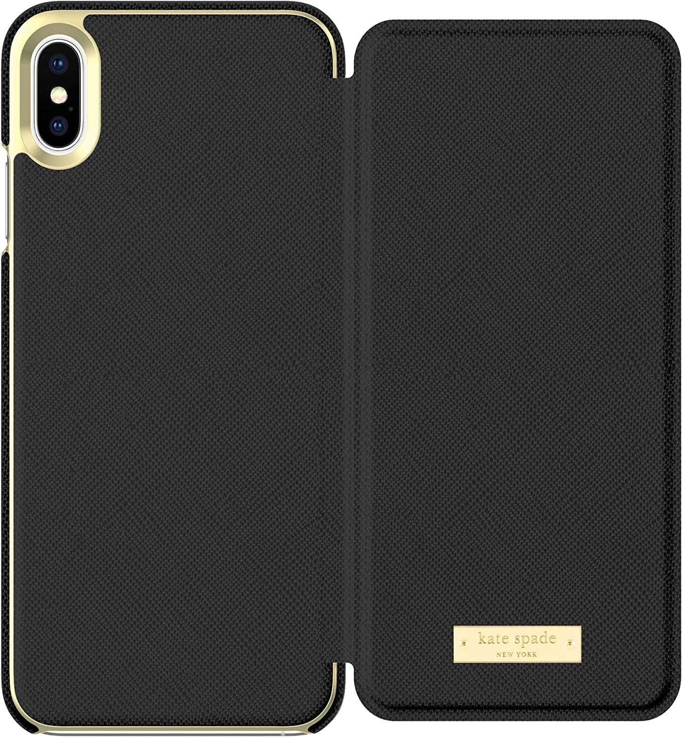 kate spade new york Black Folio Case for iPhone Xs Max - Saffiano Leather ID & Card Holder
