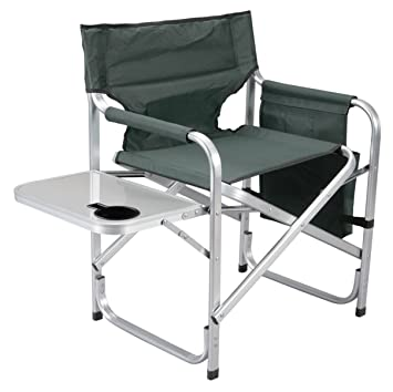 Marvelous Faulkner Aluminum Director Chair With Folding Tray And Cup Holder Green Beutiful Home Inspiration Aditmahrainfo
