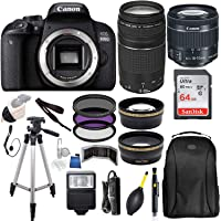 Canon EOS 800D (Rebel T7i) 18-55mm is STM Lens (Black) with Canon EF 75-300MM Lens Professional Accessory Bundle Package Includes: SanDisk 64gb Card + 50'' Tripod and More
