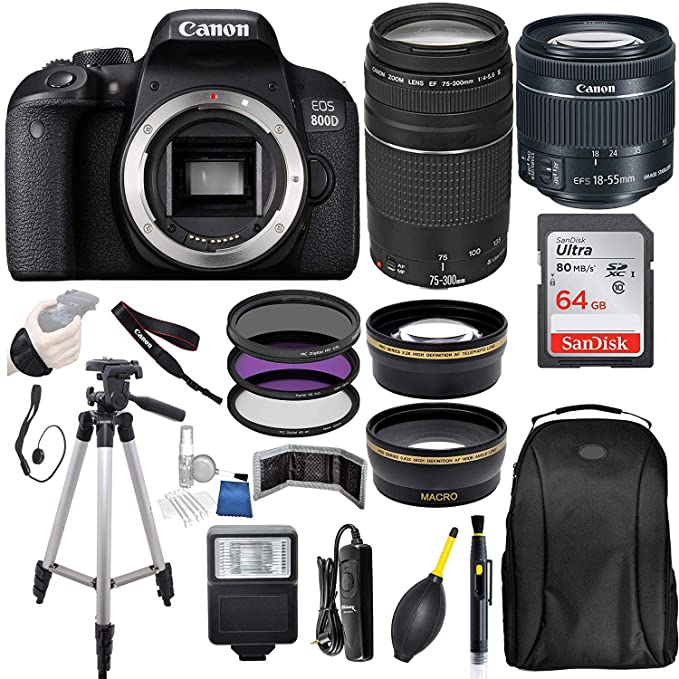 Canon EOS 800D (Rebel T7i) 18-55mm is STM Lens (Black) with