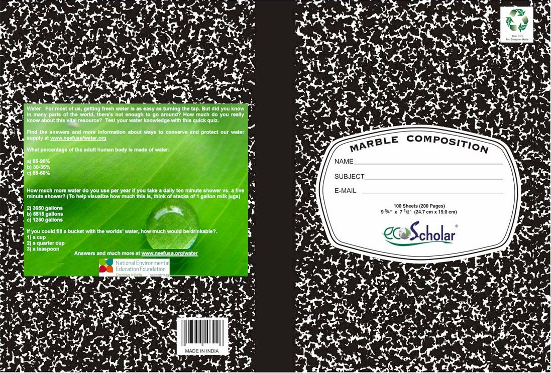 green school supplies marble composition notebook